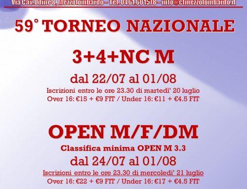 Torneo Nazionale 2021: Open e 3a categoria